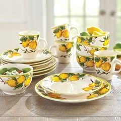 16-Pc. Lemon Dinnerware Set,