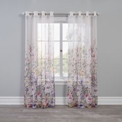 Semi-Sheer Floral Garden Grommet Panel,