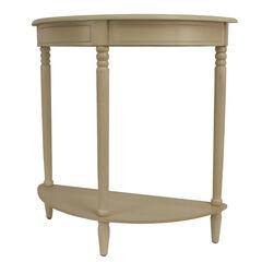Antique White Simplicity Half Round Accent Table,