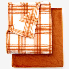 Fleece Blanket + Fleece Throw, CARAMEL