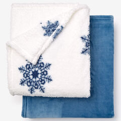 Fleece Blanket + Fleece Throw, BLUE SNOWFLAKE