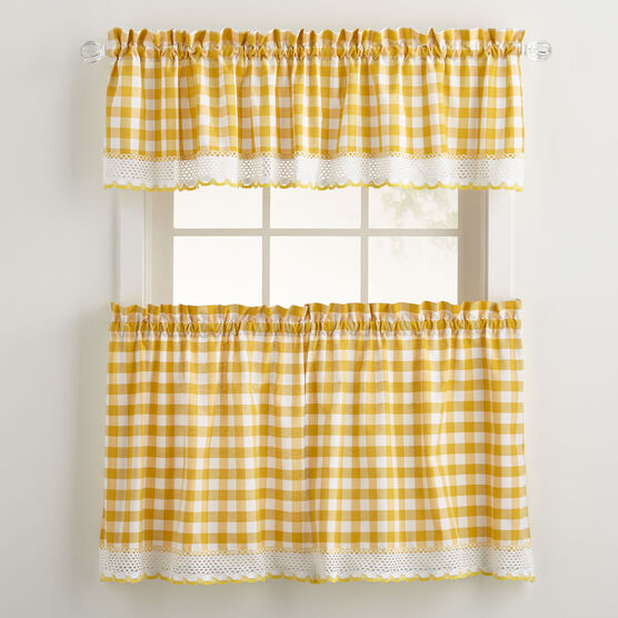 Buffalo Check Tier Curtain Set, Patterned Kitchen Curtains