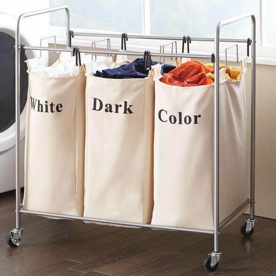 3-Bin Laundry Hamper, TAUPE
