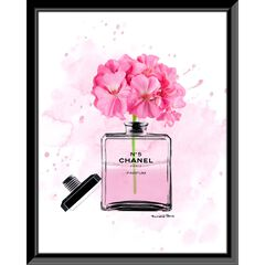 "Chanel Bottle Flowers Pink 14"" x 18"" Framed Print,"