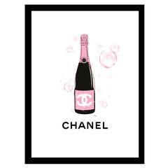 Chanel Pink Champange - Black / Pink - 14x18 Framed Print,