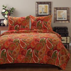 Tivoli Cinnamon Quilt Set by Greenland Home Fashions,