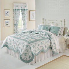 Emma Embroidered Quilt, SEAGLASS