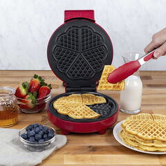 Kalorik Heart-Shaped Waffle Maker, Red,