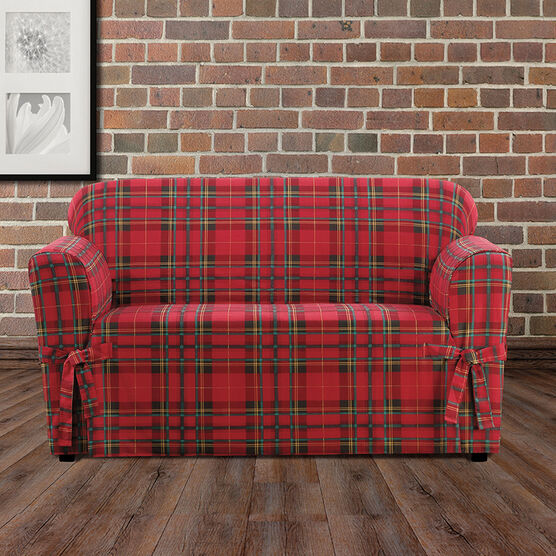 Highland Plaid Relaxed-Fit Loveseat Slipcover , RED