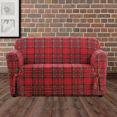 Highland Plaid Relaxed-Fit Loveseat Slipcover ,