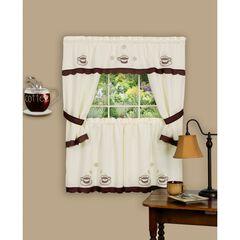 Cuppa Joe Embellished Cottage Window Curtain Set,