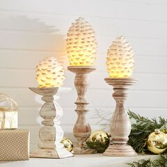 Pinecone LED Candles, Set of 3,