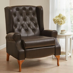 Oversized Queen Anne Style Tufted Wingback Recliner,