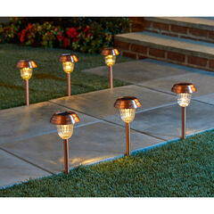 Set of 6 Copper Finish Solar Pathway Lights,