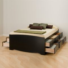 Tall Queen Captain's Platform Storage Bed with 12 Drawers,