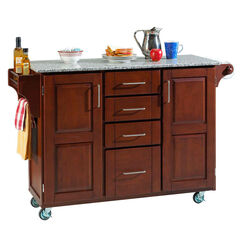 Large Cherry Finish Create a Cart with Salt & Pepper Granite Top,