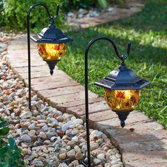 Set of 2 Hand-Painted Solar Lanterns,