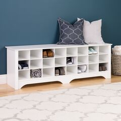 24-Pair Shoe Storage Cubby Bench,