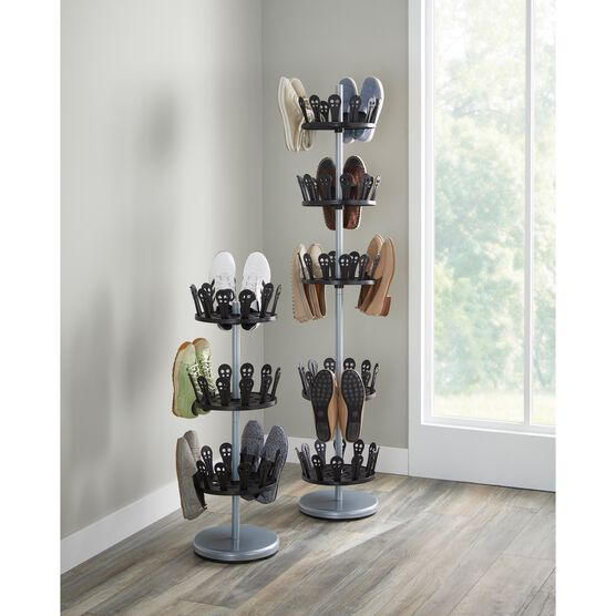 3-Tier Revolving Shoe Rack, CHROME BLACK