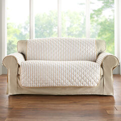 Striped Loveseat Protector, NATURAL