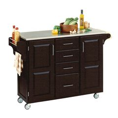 Large Black Finish Create a Cart with Stainless Steel Top,