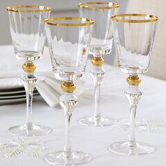 Gold Rim Wine Glasses, Set of 4,