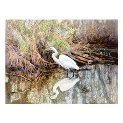 Egret Watercolor Outdoor Canvas Art,