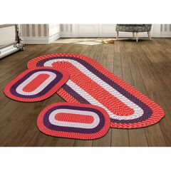 Better Trends Country Braid Collection 3 Piece Set Durable & Stain Resistant Reversible Indoor Oval Area Rug, AMERICANA STRIPE