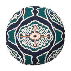 Modern Round Tribal Decorative Pillow With Pom-Poms,