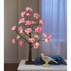 "24""H Pre-Lit Cherry Blossom Tabletop Tree,"