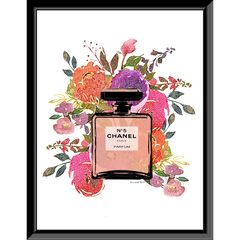 Chanel Floral Bottle 14x18 Framed Print, PINK FLORAL