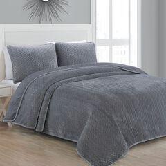 Sonoma Gray Velvet Quilt Set,