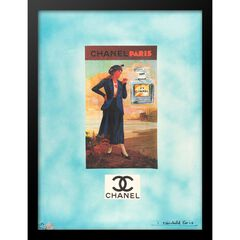 """Vintage Chanel Lady Turquoise 14"""" x 18"""" Framed Print,"""