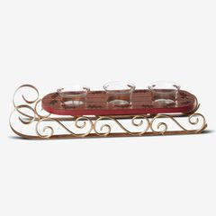 "Lenox® Hosting The Holidays""¢ Sled Votive Holder, WOOD RED GOLD"