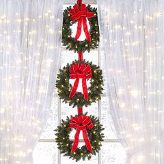 set of 3 cordless pre lit mini christmas wreaths