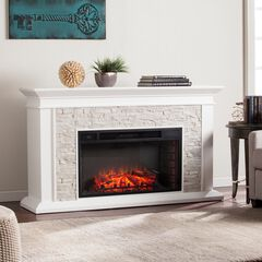 Canyon Heights Faux Stacked Stone Electric Fireplace,