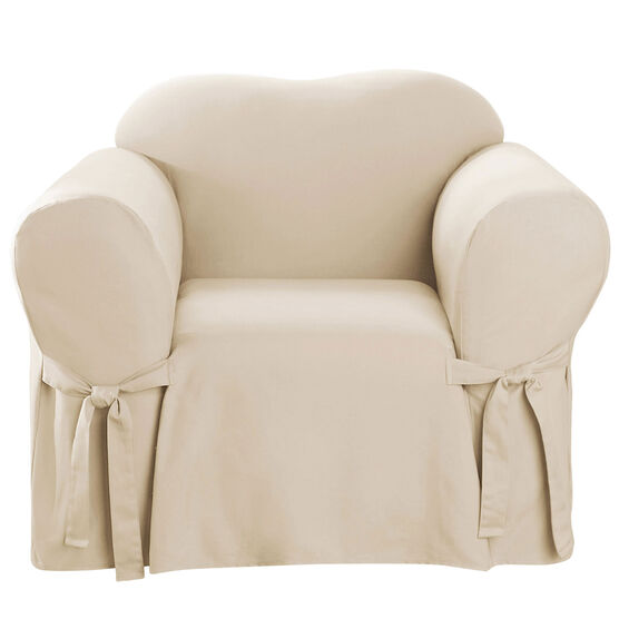 Mix & Match Solid Cotton Chair Slipcover , NATURAL