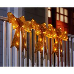 Pre-Lit Tinsel Bows, Set of 3, GOLD