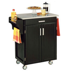 Black Finish Create a Cart with Stainless Steel Top,