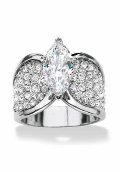 Platinum Plated Cubic Zirconia and Round Crystals Engagement Ring,
