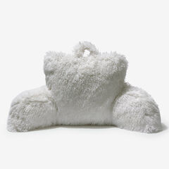 Lola Shaggy Backrest Pillow, WHITE