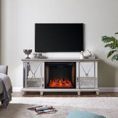 Toppington Mirrored Fireplace Media Console w/ Alexa Firebox,