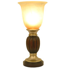 "13¼"" Two Tone Resin Uplight with Alabaster Champagne Glass, BROWN"