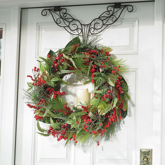 Pre-Lit Winterberry Holiday Wreath, MULTI