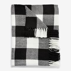 Plaid Tassel Throw, BLACK WHITE
