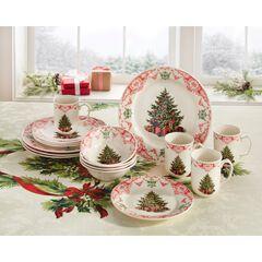 16-Pc. Christmas Tree Dinnerware Set,