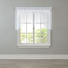 Windsor Lace Rod-Pocket Swag Valance, WHITE