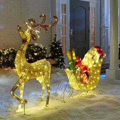 Glitter Reindeer with Santa & Sleigh,