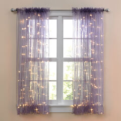 "63"" Pre-Lit Rod-Pocket Curtain Panel,"