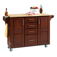 Large Cherry Finish Create a Cart with Wood Top,